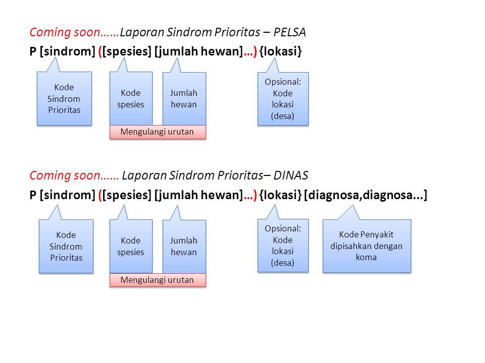 Coming soon……Laporan Sindrom Prioritas – PELSA P [sindrom] ([spesies] [jumlah hewan]…) {lokasi} Coming soon…… Laporan Sindrom Prioritas– DINAS P [sindrom] ([spesies] [jumlah hewan]…) {lokasi} [diagnosa,diagnosa...]